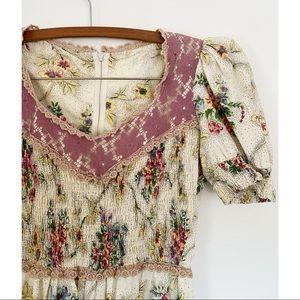 Vintage 70's Jody T Boho Floral Mini Dress